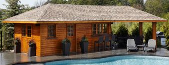Swimming Pool Cabana design with cedar